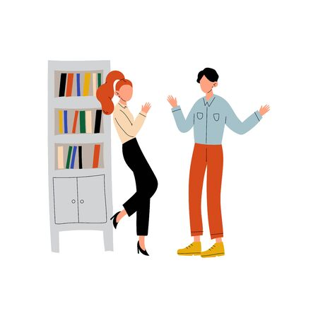 Young Man and Woman Talking in Office, Colleagues Working Together, Communication Between Coworkers, Friendly Environment Vector Illustration on White Background. Foto de archivo - 128165102