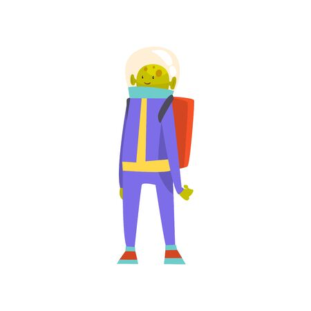 Friendly Green Alien Standing with Jetpack, Funny Humanoid Cartoon Character in Blue Space Suit and Helmet Vector Illustration on White Background.