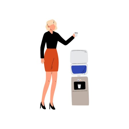 Business Women Drinking Water at Water Cooler Vector Illustration on White Background.