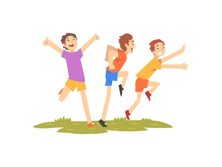 Glückliche Jungen, die Spaß im Freien haben, Freunde, die auf Natur spielen, Sommeraktivitäten im Freien Vektor-Illustration auf weißem Hintergrund.