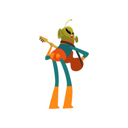 Funny Green Alien Playing Guitar, Humanoid Cartoon Character with Big Eyes Oval Shape and Small Antenna Wearing Space Suit Vector Illustration on White Background.