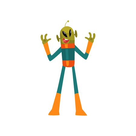 Scary Green Alien, Humanoid Cartoon Character with Big Eyes Oval Shape and Small Antenna Wearing Space Suit Vector Illustration on White Background.