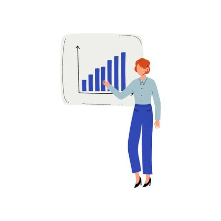 Businesswoman Giving Presentation of Project, Man Presenting Graph on Flip Chart Vector Illustration on White Background.