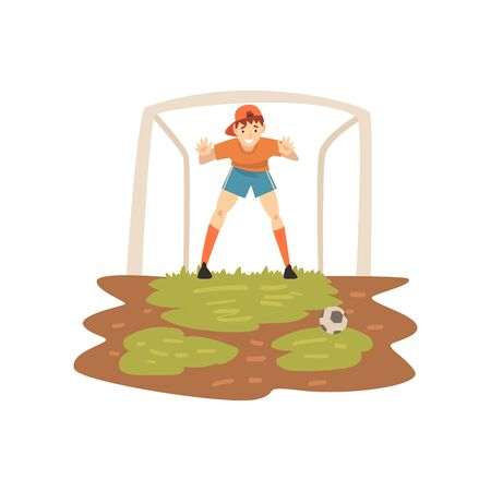 Goalkeeper Standing at Gate on Sport Field, Soccer Player, Summer Outdoor Activities Vector Illustration on White Background.