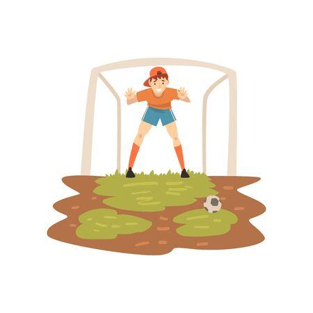 Torhüter, der am Tor auf Sportplatz, Fußballspieler, Sommer-Outdoor-Aktivitäten-Vektor-Illustration auf weißem Hintergrund steht. Vektorgrafik