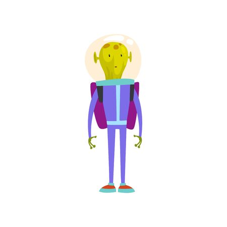 Funny Green Alien Standing with Jetpack, Humanoid Cartoon Character in Blue Space Suit and Helmet Vector Illustration on White Background.
