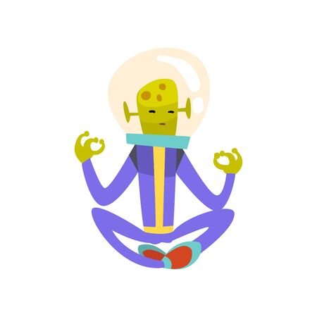 Funny Green Alien Meditating in Lotus Position, Funny Humanoid Cartoon Character in Blue Space Suit and Helmet Vector Illustration on White Background.