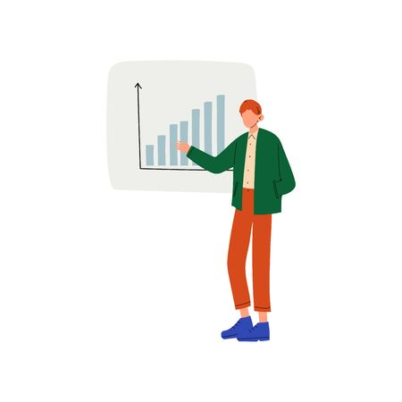 Businessman Giving Presentation of Project, Man Presenting Graph on Flip Chart Vector Illustration on White Background.