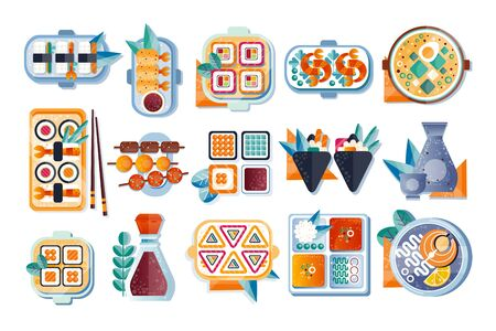 Japanese restaurant food with plate, chopsticks and spices set, Asian cuisine vector Illustration isolated on a white background. Stock Illustratie