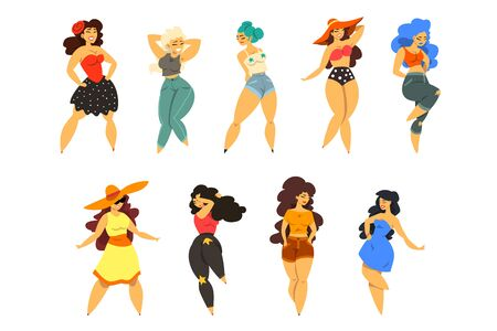 Beautiful curvy, overweight girls set, plus size women in fashionable clothes, pinup model vector Illustrations