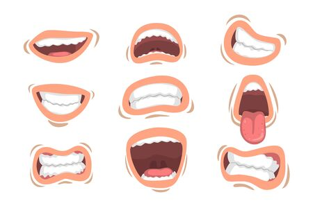Set of male mouths with different emotions. Smile, sticking out tongue, anger, happiness. Cartoon style icons. Colorful graphic design for mobile app, sticker or print. Isolated vector illustrations.