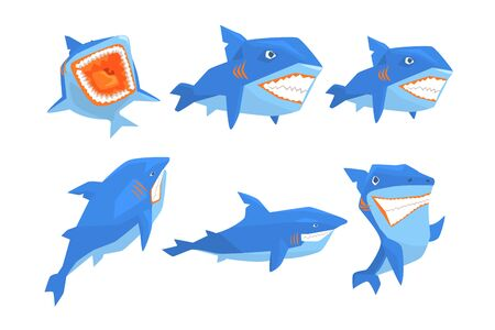 Set of blue shark in different poses. Marine animal with sharp teeth and big fin on back. Sea and ocean theme. Graphic elements for mobile game. Colorful flat vector icons isolated on white background Фото со стока - 128165144
