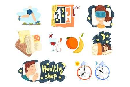 Flat vector set of cartoon infographic elements with tips and tricks for healthy sleep. Graphic design for presentation, poster or banner 일러스트