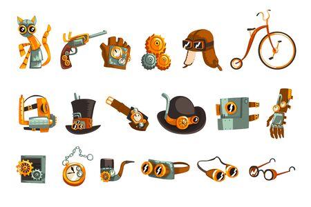 Conjunto de objetos y mecanismo Steampunk, dispositivos mecánicos antiguos, ropa con engranajes vector ilustración aislada sobre fondo blanco. Ilustración de vector