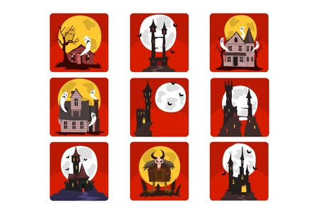 Flat vector set of scary castles with full moon and bats, old houses with ghosts and creepy hut on chicken legs. Halloween theme