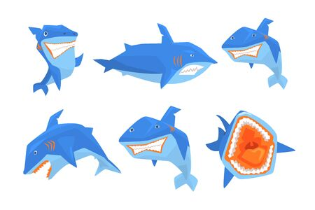 Set of big blue shark. Marine fish with sharp teeth and large fin on back. Graphic elements for stickers or mobile game. Colorful vector illustrations in flat style isolated on transparent background.