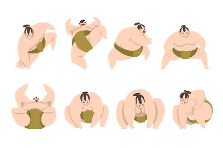 Sumo wrestler character set, sumoist athlete in action, Japanese martial art fighter vector Illustrations isolated on a white background.  イラスト・ベクター素材
