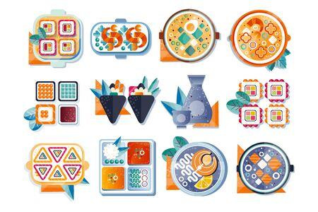 Japanese restaurant food set, Asian cuisine vector Illustration isolated on a white background.