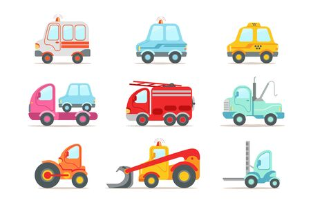 Collection of different types of vehicles. Semi trailer, tractors, lorry, truck with tank. Transport or car theme. Heavy machinery. Colorful vector icons in flat style isolated on white background.