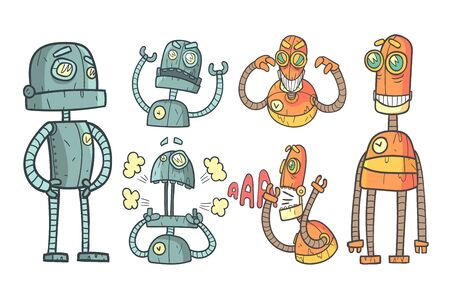 Vector set with robots in outline style with colorful fill. Gray and orange mechanical androids with different emotions