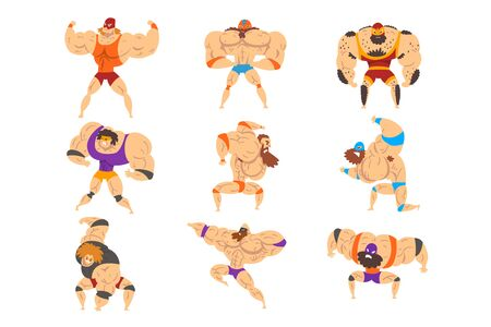 Powerful wrestling fighter characters set, professional wrestler of recreational sports show vector Illustrations isolated on a white background.