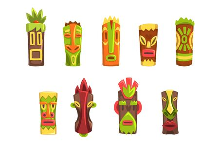 Traditional religious totems set, colorful ethnic tribal ritual masks vector Illustrations isolated on a white background.  イラスト・ベクター素材