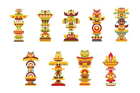 Religious totem set, colorful native cultural tribal symbols vector Illustrations on a white background  イラスト・ベクター素材