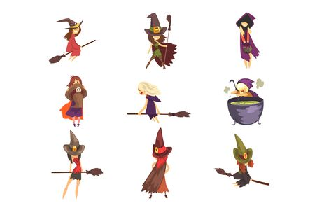 Set of young witches in different actions. Flying on brooms, cooking potion in big pot and posing. Cartoon female characters in cone hats and capes with hoods. Halloween theme. Flat vector design. Stock Illustratie