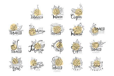 Set di design del tabacco, gli emblemi possono essere utilizzati per il negozio di fumo, il club per gentiluomini e i prodotti del tabacco disegnati a mano illustrazioni vettoriali Vettoriali