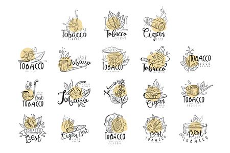 Tobacco design set, emblems can be used for smoke shop, gentlemens club and tobacco products hand drawn vector Illustrations Illustration