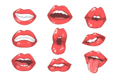 Set of red women s lips with different emotions. Female mouths with white teeth. Flat vector for mobile app, sticker or promo poster 向量圖像