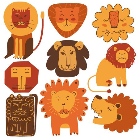 Cute Friendly Lions Set, Stylized Design Elements Can Be Used for T-shirt Print, Poster, Card, Label, Badge Vector Illustration on White Background.