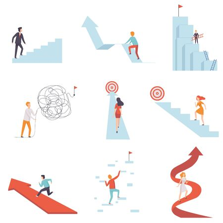 Business People Moving to Success Set, Young Men and Women Climbing Up Career Ladders and Arrows to Achievement of Goals Vector Illustration on White Background. 向量圖像