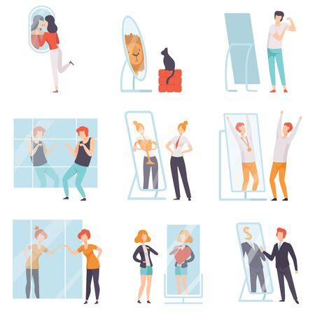 Caratteri di persone narcisistiche che guardano allo specchio e si ammirano insieme, uomini, donne qnd gatto si sopravvalutano, fiducia in se stessi, motivazione illustrazione vettoriale su sfondo bianco. Vettoriali
