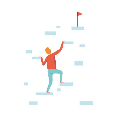 Businessman Climbing Up to the Top of Mountain to Goal, Business and Career Development Vector Illustration on White Background.