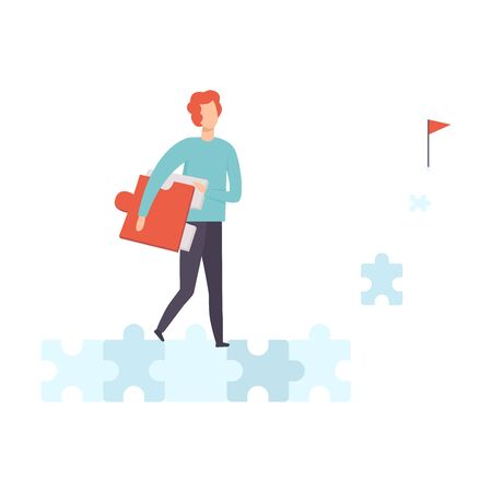 Young Man Walking Along Road from Puzzles to Goal Vector Illustration on White Background.