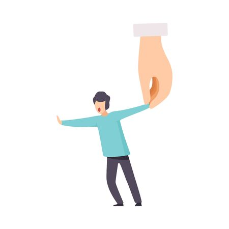 Big Hand Holding Tiny Man, Control, Manipulation of People Concept Vector Illustration on White Background.
