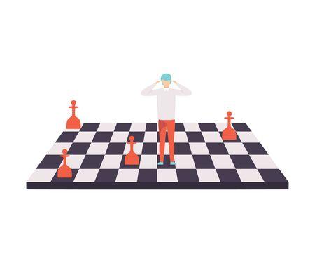 Homme d'affaires sur l'échiquier, contrôle, Manipulation de personnes Concept Vector Illustration sur fond blanc.