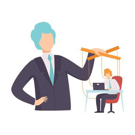 Employee, Office Worker Marionette on Ropes Controlled by Boss, Manipulation of People Concept Vector Illustration on White Background. Illustration
