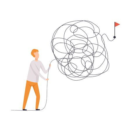 Biznesmen szuka sposobów na sukces Symbol, człowiek rozwiązywanie skomplikowanego problemu wektor ilustracja na białym tle.
