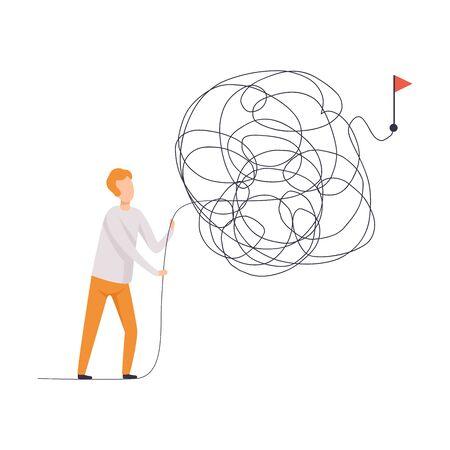Uomo d'affari in cerca di modi per il simbolo di successo, uomo che risolve problema complicato illustrazione vettoriale su sfondo bianco.