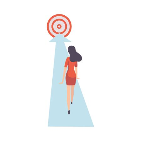 Businesswoman Walking Forward Along Arrow to Goal, View from Behind, Achievement of Goal Vector Illustration on White Background.