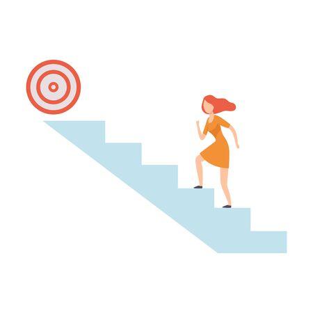 Businesswoman Moving Up Career Ladder to Goal, Business Career Development Vector Illustration on White Background. 일러스트