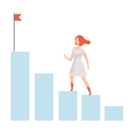 Businesswoman Moving Up to Her Goal on Column of Columns, Business Career Development Vector Illustration on White Background.
