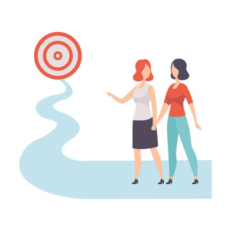 Businesswomen Walking to Path Towards to Target, Achievement of Goal Vector Illustration on White Background. 向量圖像