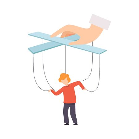 Boy Marionette on Ropes Controlled by Mothers Hand, Manipulation of People Concept Vector Illustration on White Background.
