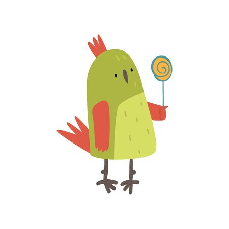 Cute Bird with Lollipop, Funny Birdie Cartoon Character with Bright Green Feathers Vector Illustration on White Background.