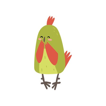 Cute Happy Bird Lookig at Mirror, Funny Birdie Cartoon Character with Bright Green Feathers Vector Illustration on White Background.
