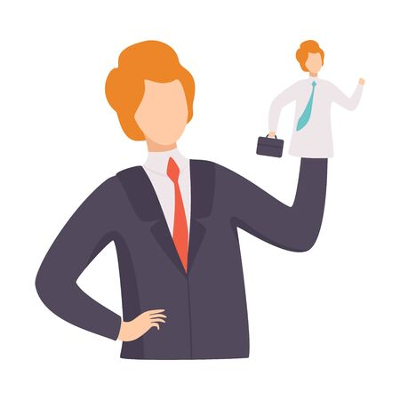 Businessman Manipulating Employee Like Puppet, Manipulation of People Concept, Man Controlled By Puppet Master Vector Illustration on White Background. Archivio Fotografico - 128165184