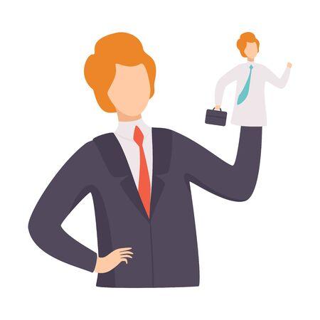 Homme d'affaires manipulant l'employé comme la marionnette, la manipulation du concept de personnes, l'homme contrôlé par l'illustration vectorielle de Puppet Master sur fond blanc. Vecteurs